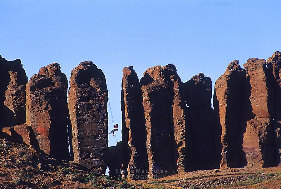 Rock climbing at Frenchman Coulee/Vantage, Columbia Basin WA.