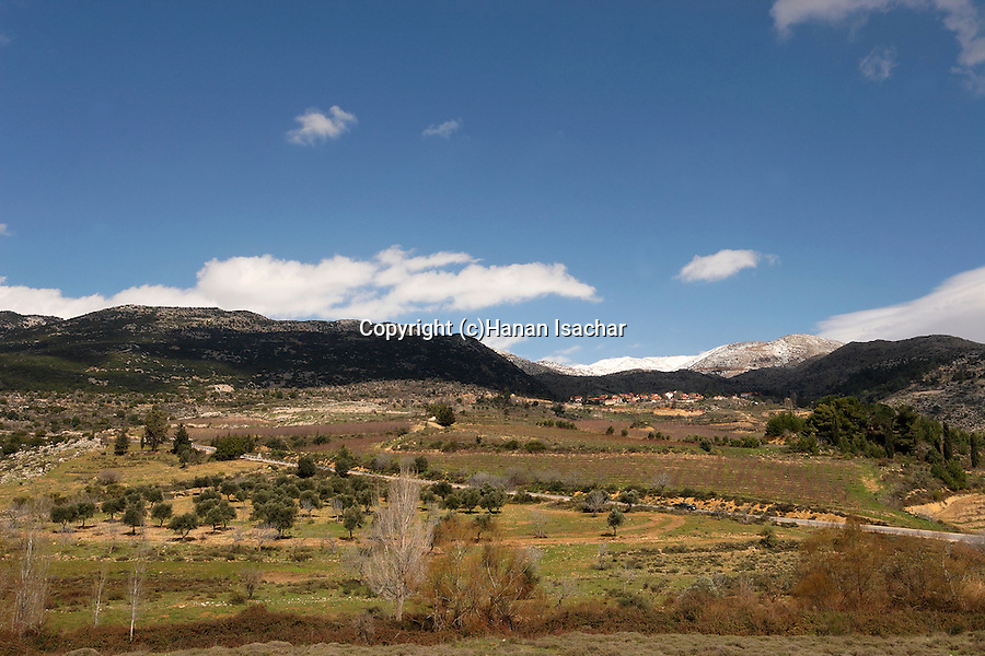 The Golan Heights. A view from Nabi Hazuri, Neve Ativ and Mount Hermon are in the background