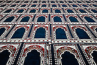 Pattern created by prayer rugs in Islamic mosque, Cairo, Egypt