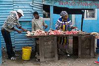 South Africa, Cape Town, Guguletu Township.  Street Corner Butchershop.