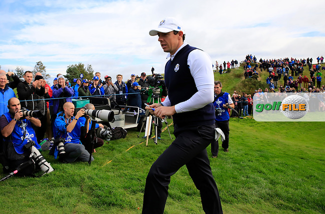 Rory McIlroy (EUR) during Practice on Thursday at the 40th Ryder Cup, The Gleneagles Hotel, Perthshire from 26th to 28th September 2014<br /> Picture Eoin Clarke, www.golffile.ie
