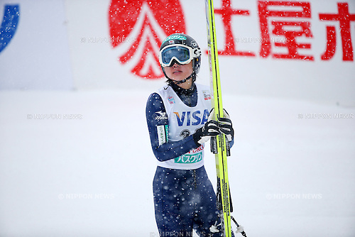 Yuki Ito (JPN), JANUARY 11, 2014 - Ski Jumping : Yuki Ito of Japan reacts after her jumpping during the FIS Ski Jumping World Cup Women's HS100 at Miyanomori, Sapporo, Japan. (Photo by AFLO SPORT)