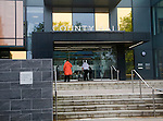 People entering the new County Hall building, Trowbridge, Wiltshire, England