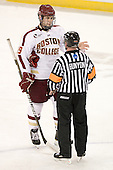 Chris Kreider (BC - 19), Jeff Bunyon - The Boston College Eagles defeated the Merrimack College Warriors 4-2 to give Head Coach Jerry York his 900th collegiate win on Friday, February 17, 2012, at Kelley Rink at Conte Forum in Chestnut Hill, Massachusetts.
