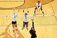 SAN ANTONIO, TX - SEPTEMBER 11, 2018: The University of Texas at San Antonio Roadrunners fall to the Texas State University Bobcats 3-0 (22-25, 29-31, 22-25) at the UTSA Convocation Center. (Photo by Jeff Huehn)