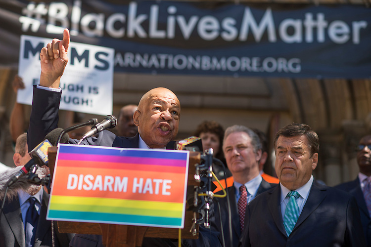 UNITED STATES - JUNE 29: Rep. Elijah Cummings, D-Md., speaks during a rally with lawmakers and gun violence victims to call for action on gun safety measures on the steps of the Cathedral of the Incarnation in Baltimore, Md., June 29, 2016. Reps. Chris Van Hollen, D-Md., Dutch Ruppersberger, D-Md., and John Sarbanes, D-Md., also attended the event. (Photo By Tom Williams/CQ Roll Call)