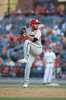Carolina Mudcats relief pitcher Rodrigo Benoit (13) in action against the Fayetteville Woodpeckers at SEGRA Stadium on May 18, 2019 in Fayetteville, North Carolina. The Mudcats defeated the Woodpeckers 6-4. (Brian Westerholt/Four Seam Images)
