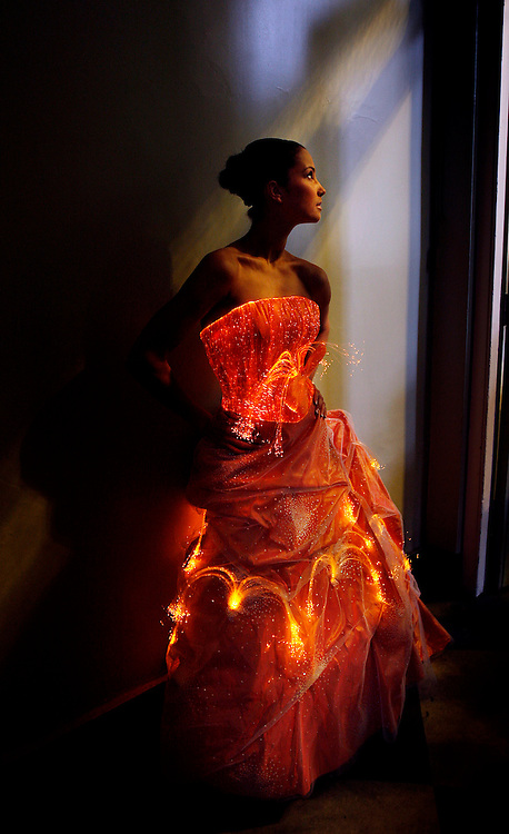 Top Irish model, Baiba, brightens up Trinity College today, January 16, in a luminous dress to launch the LIGHTWAVE Festival, running from February 2-9 in the world's first Science Gallery in Pearse Street, Dublin 2. For festival tickets and programmes, log on to www.sciencegallery.com. Pic Robbie Reynolds