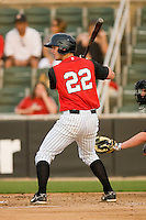 Jake Oester #22 of the Kannapolis Intimidators at bat against the Delmarva Shorebirds at Fieldcrest Cannon Stadium May 14, 2010, in Kannapolis, North Carolina.  Photo by Brian Westerholt / Four Seam Images