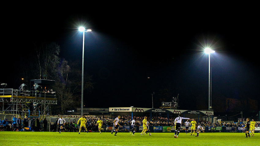A general view of the action at Nethermoor Park<br /> <br /> Photographer Alex Dodd/CameraSport<br /> <br /> The Emirates FA Cup Second Round - Guiseley v Fleetwood Town - Monday 3rd December 2018 - Nethermoor Park - Guiseley<br />  <br /> World Copyright © 2018 CameraSport. All rights reserved. 43 Linden Ave. Countesthorpe. Leicester. England. LE8 5PG - Tel: +44 (0) 116 277 4147 - admin@camerasport.com - www.camerasport.com