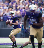 Jake Browning looks downfield for Darrell Daniels.  Daniels came alive with 75 yards receiving.