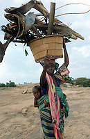 Mali. Province of Mopti. Dourou. Dogon land. Near the Bandiagara cliff. Village life. Woman carries her child on her back and on her head a bucket loaded with wood for cooking . She has fetched the wood far away from the village.  © 2003 Didier Ruef