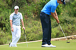 Rory McIlroy (N.IRL) watches as Nicolas Colsaerts (BEL) putts on the 2nd green during the afternoon session on Day 2 of the Volvo World Match Play Championship in Finca Cortesin, Casares, Spain, 20th May 2011. (Photo Eoin Clarke/Golffile 2011)