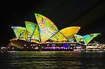 The Sydney Opera House illuminated during the Vivid Light Festival.