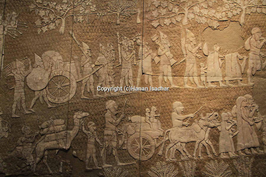 Israel, Jerusalem, a section of a replica of the Lachish relief depicting the siege and capture of Lachish by the assyrian army in 701 BC, at the Israel Museum