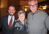 NWA Democrat-Gazette/CARIN SCHOPPMEYER Joseph Farmer (from left) and Brenda and Jason Nemec visit at the APT season leak.