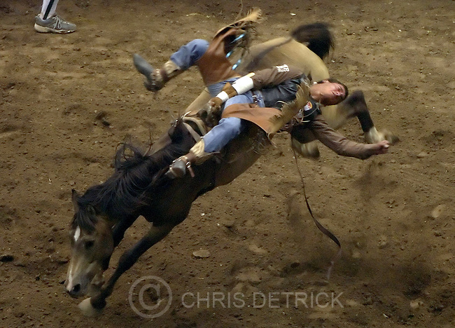 Salt Lake City,Utah--7/23/2005--.Jesse Egan,of Gridley, Ca., competes in the bareback riding competition at the Days of 47 Rodeo held at The Delta Center..Photo By: Chris Detrick /Salt Lake Tribune.File Number: Sat Rodeo CD 03
