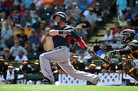 Boston Red Sox second baseman Dustin Pedroia (15) during a Spring Training game against the Pittsburgh Pirates on March 12, 2015 at McKechnie Field in Bradenton, Florida.  Boston defeated Pittsburgh 5-1.  (Mike Janes/Four Seam Images)