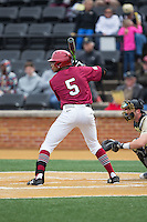 Drew Reid (5) of the Harvard Crimson at bat against the Wake Forest Demon Deacons at David F. Couch Ballpark on March 5, 2016 in Winston-Salem, North Carolina.  The Crimson defeated the Demon Deacons 6-3.  (Brian Westerholt/Four Seam Images)