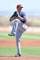 Cleveland Indians pitcher Dylan Baker (40) during an Instructional League game against the Seattle Mariners on October 1, 2014 at Goodyear Training Complex in Goodyear, Arizona.  (Mike Janes/Four Seam Images)