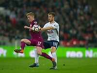 Manchester City Kevin De Bruyne  and Tottenham's Eric Dier during the Premier League match between Tottenham Hotspur and Manchester City at Wembley Stadium, London, England on 14 April 2018. Photo by Andrew Aleksiejczuk / PRiME Media Images.