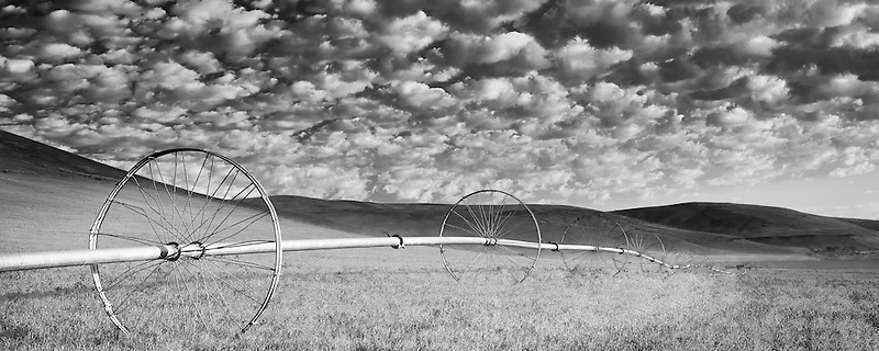Irrigation wheel in pasture with cloudy sky. Wallowa County, Oregon