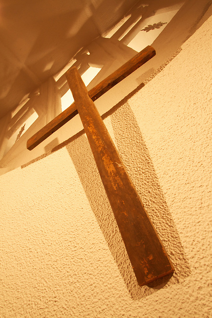 This cross adorns the wall of the Christian Community Church, designed by Frank Lloyd Wright, located in downtown Kansas City