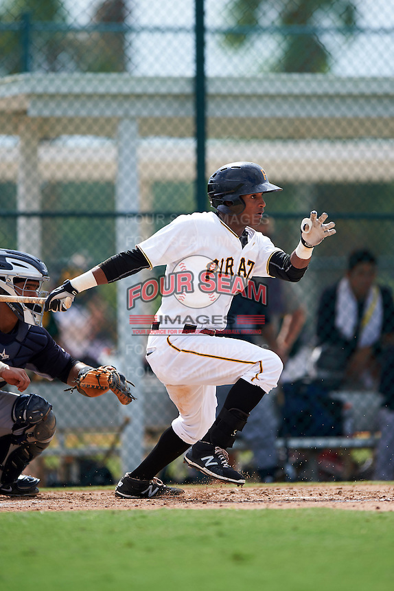 GCL Pirates outfielder Michael De La Cruz (56) at bat during the first game of a doubleheader against the GCL Yankees 2 on July 31, 2015 at the Pirate City in Bradenton, Florida.  GCL Pirates defeated the GCL Yankees 2 2-1.  (Mike Janes/Four Seam Images)