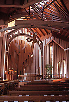 St. Matthew's Episcopal Church in Pacific Palisades, CA. Designed by Charles Moore. Late Modern design. Lofty, acoustically superb. Photo July 1991.
