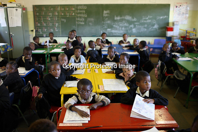 Young students in a primary school in Soweto.