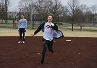 Albert Breithaupt, 14, of Bentonville runs to third base, Monday, March 16, 2020 during a baseball game at the Memorial Park ball field in Bentonville. Check out nwaonline.com/200317Daily/ for today's photo gallery.<br /> (NWA Democrat-Gazette/Charlie Kaijo)