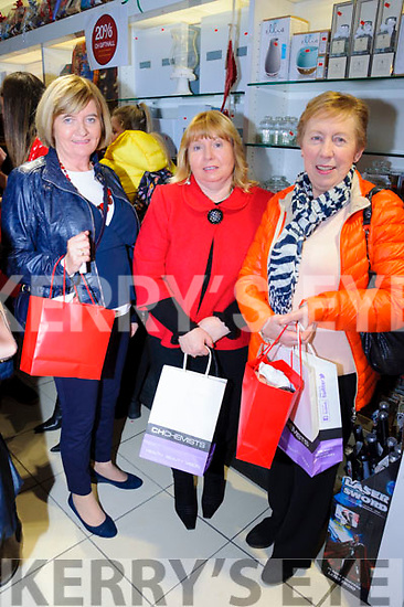 Marian Dore, Catherine Quill and Sheila O'Connell enjoyed both the festivities and the bargains at the CH Chemists' Christmas Shopping Event last Friday.