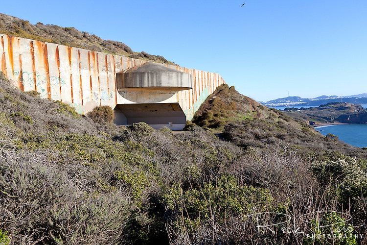 Fortifications for Battery Townsley, a relic from World War II, at the Marin Headlands and Golden Gate National Recreation Area.