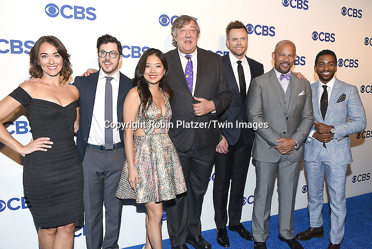 cast of &quot;The Great Indoors&quot;, Susannah Fielding, Christopher Mintz-Plasse, Christine Ko, Stephen Fry, Joel McHale, Chris Williams and Shaun Brown, attends the CBS Upfront 2016-2017 on May 18, 2016 at the Oak Room at the Plaza Hotel in New Yorik, New York, USA.<br /> <br /> photo by Robin Platzer/Twin Images<br />  <br /> phone number 212-935-0770