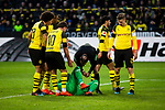 09.02.2019, Signal Iduna Park, Dortmund, GER, 1.FBL, Borussia Dortmund vs TSG 1899 Hoffenheim, DFL REGULATIONS PROHIBIT ANY USE OF PHOTOGRAPHS AS IMAGE SEQUENCES AND/OR QUASI-VIDEO<br /> <br /> im Bild | picture shows:<br /> Schiedsrichter | Referee Marco Fritz kümmer sich um den benommenen Roman Buerki (Borussia Dortmund #1), der den Ellenbogen von Benjamin Huebner (Hoffenheim #21) abbekommen hat,  <br /> <br /> Foto © nordphoto / Rauch