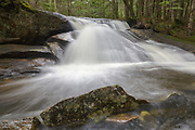 One of the numerous cascades on Jackman Brook in North Woodstock, New Hampshire during the spring season.