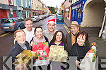 Kenmare Traders looking forward to the Kenmare Winter Wonderland Festival .Frpm lefy Michelle Donovan, Cafe Mocha, Andrew Hill, Truffle Pig, Tracey Wade, The Christmas Shop/White room, Paul Kelly, PFK, Norita Kelly, Simplicity Boutique, Alain Bras, KenmareVanilla Grape wine shop and Mary O'Leary, Cupan Tae.