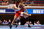 CLEVELAND, OH - MARCH 10: Jake Evans, of Waynesburg, right, wrestles James Bethel, of SUNY Oneonta, in the 285 weight class during the Division III Men's Wrestling Championship held at the Cleveland Public Auditorium on March 10, 2018 in Cleveland, Ohio. (Photo by Jay LaPrete/NCAA Photos via Getty Images)
