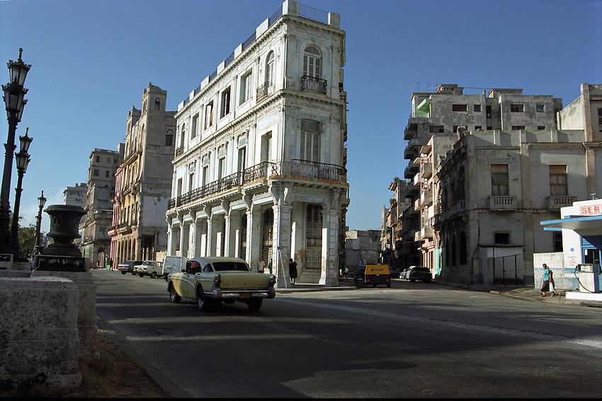 Old Havana Street scene where Paseo Marti converges with San Lazaro