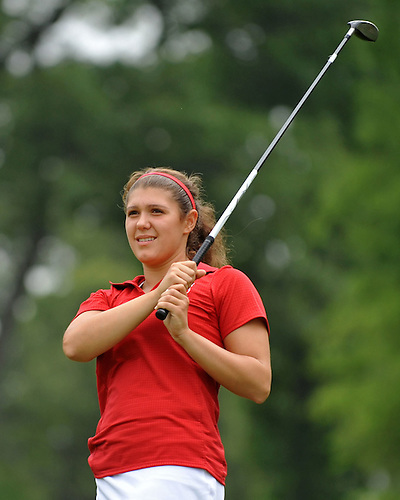 Capria Picco of Waverly tees off on the 1st Hole of Bethpage State Park's Yellow Course during the first round of the NYSPHSAA girls golf state championship on Saturday, June 4, 2016. (Photo by James Escher)
