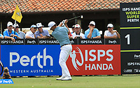 Wade Ormsby (AUS) in action on the 1st during Round 1 of the ISPS Handa World Super 6 Perth at Lake Karrinyup Country Club on the Thursday 8th February 2018.<br /> Picture:  Thos Caffrey / www.golffile.ie<br /> <br /> All photo usage must carry mandatory copyright credit (&copy; Golffile | Thos Caffrey)