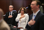 Nevada Senate Democrats David Parks and Debbie Smith say the Pledge of Allegiance at the Legislative Building in Carson City, Nev., on Monday, April 22, 2013. .Photo by Cathleen Allison