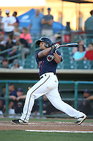 Bryan Muniz (25) of the Lancaster JetHawks bats against the San Jose Giants during the second game of a doubleheader at The Hanger on July 14, 2016 in Lancaster, California. Lancaster defeated San Jose, 3-0. (Larry Goren/Four Seam Images)