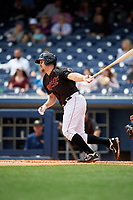 Nashville Sounds catcher Ryan Lavarnway (30) follows through on a swing during a game against the New Orleans Baby Cakes on May 1, 2017 at First Tennessee Park in Nashville, Tennessee.  Nashville defeated New Orleans 6-4.  (Mike Janes/Four Seam Images)