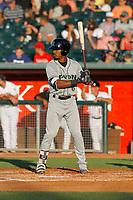 Dayton Dragons first baseman Reshard Munroe (6) at bat  during a game against the Lansing Lugnuts at Cooley Law School Stadium on August 10, 2018 in Lansing, Michigan. Lansing defeated Dayton 11-4.  (Robert Gurganus/Four Seam Images)