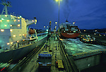 Ships pass through the Gatun Locks near Panama City, Panama. © Michael Brands. 970-379-1885.