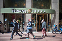 A Panera Bread cafe in New York, on Wednesday, March 22, 2017.  The fast-casual Panera Bread Co. is reported to have spent over $120 million on their Panera 2.0 digital initiative with store kiosks and mobile ordering.  (© Richard B. Levine)