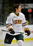 22 November 2011: University of Vermont Catamount forward Mike Montagna, a Freshman from Fulton, NY, awaits game introductions prior to facing the University of Massachusetts Minutemen at Gutterson Fieldhouse in Burlington, Vermont. The Catamounts defeated the Minutemen 2-1 in their annual pre-Thanksgiving meeting of the Hockey East season. Mandatory Credit: Ed Wolfstein Photo
