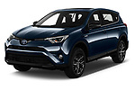 2018 Toyota RAV4 Black edition Hybride 5 Door SUV angular front stock photos of front three quarter view