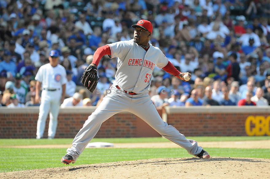 ARTHUR RHODES, of the Cincinnati Reds, in action during the Reds  game against the Chicago Cubs at Wrigley Field in Chicago, IL on August 6, 2010.  The Reds won the game 4-3.